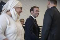 Emmanuel Macron rencontredes représentants d'associations locales lors de son déplacement àMulhouse, le 18 février.