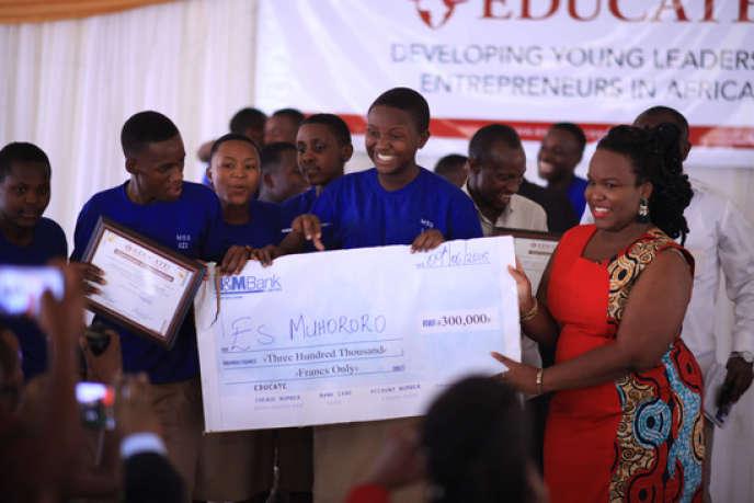 Lors du premier concours des« business clubs» d'étudiants du Rwanda, en juin 2018.