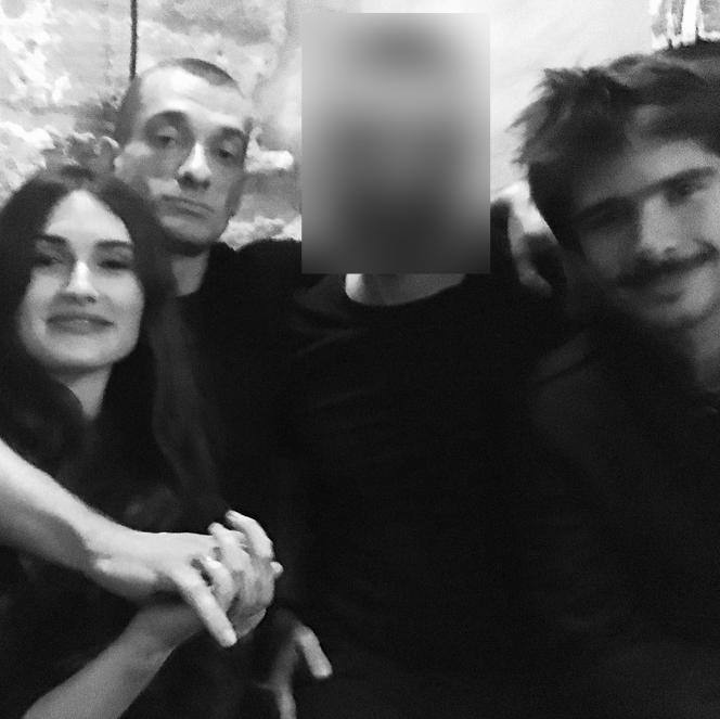 Alexandra de Taddeo, Piotr Pavlenski et Juan Branco, le 19 décembre 2019, à Paris.