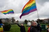 Lors de la « Marche des fiertés LGBT», à Nowy Sacz, dans le sud de la Pologne, le 9 octobre 2019.