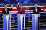 Michael Bloomberg (à gauche), Elizabeth Warren et Bernie Sanders lors du débat démocrate, mercredi 19 février, à Las Vegas, dans le Nevada.