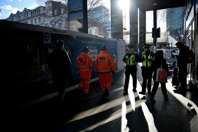 Construction workers on a railway site in London, February 11.