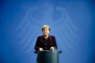 Angela Merkel lors d'une déclaration à Berlin, le 20 février.