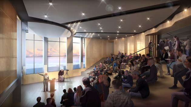 Image montrant l'amphithéâtre du projet pour la nouvelle station américaine de l'Antarctique McMurdo, dont l'inauguration est prévue pour 2026.