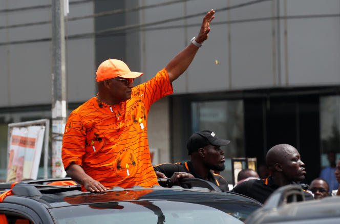 L'opposant et candidat à l'élection présidentielle togolaise Jean-Pierre Fabre lors d'un rassemblement à Lomé, le 20 février 2020.