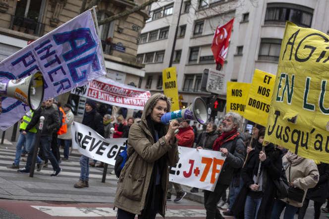 Manifestation contre le projet de réforme des retraites, à Paris, le 20 février.