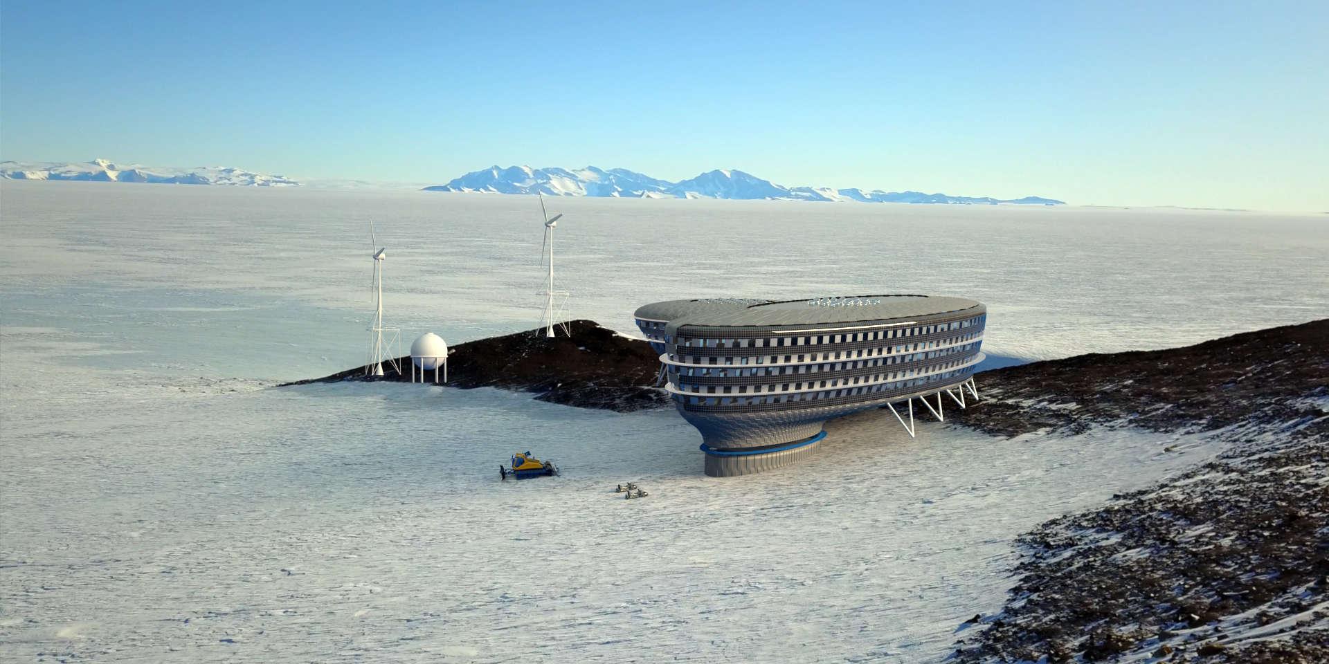 Image de synthèse montrant le projet de la station «Andromeda» en Antarctique, de la Fondation polaire internationale.