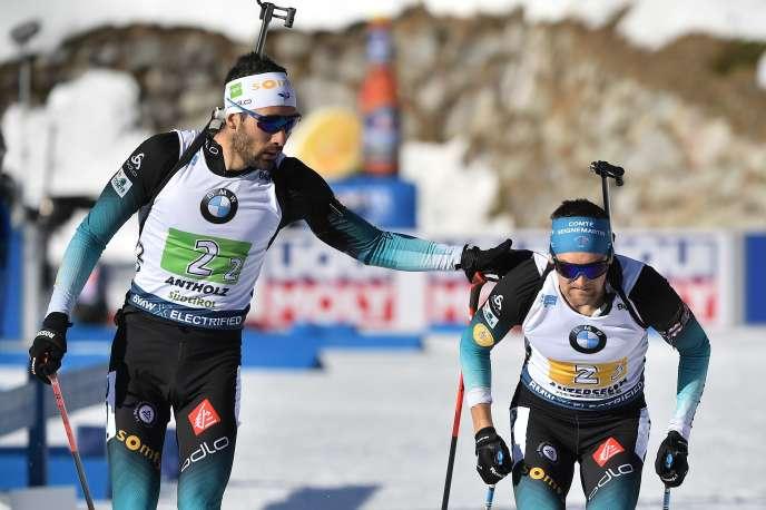 Martin Fourcade et Simon Desthieux, le 22 février 2020.
