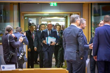 Le président du Conseil européen, Charles Michel, à Bruxelles, le 21 février.