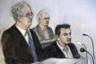 Croquis de l'équipe de défense de Julian Assange à Londres, le 24 février : Edward Fitzgerald à gauche, et Mark Simmons, à droite.