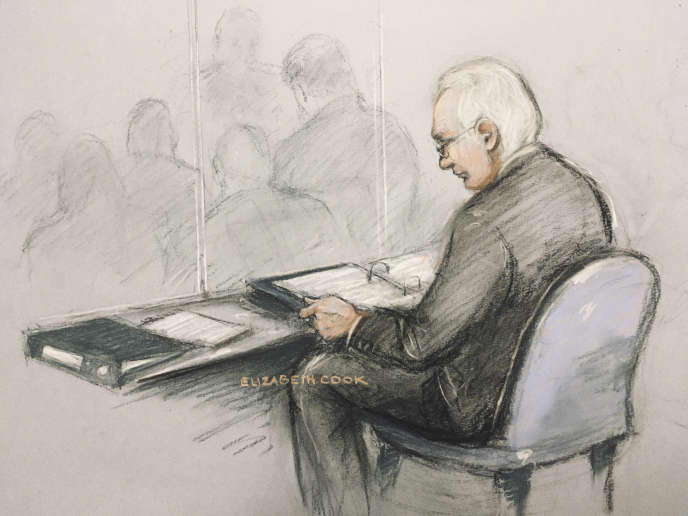 Croquis de Julian Assange, le 24 février lors de son procès à Londres.