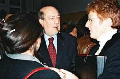 Hervé Bourges lors des fêtes du 80e anniversaire de l'ESJ, à Lille, en 2004.