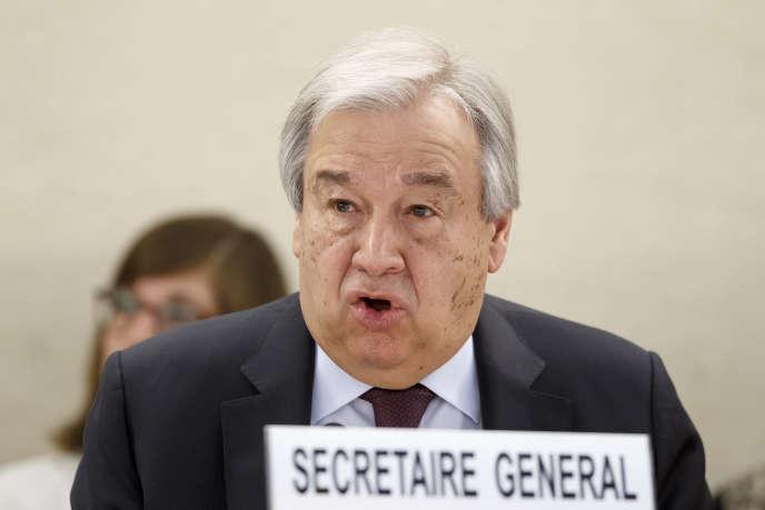 Le secrétaire général de l'ONU, Antonio Guterres, lors de l'ouverture de la 43e session du Conseil des droits de l'homme, au siège européen des Nations unies, à Genève (Suisse), lundi24février2020.