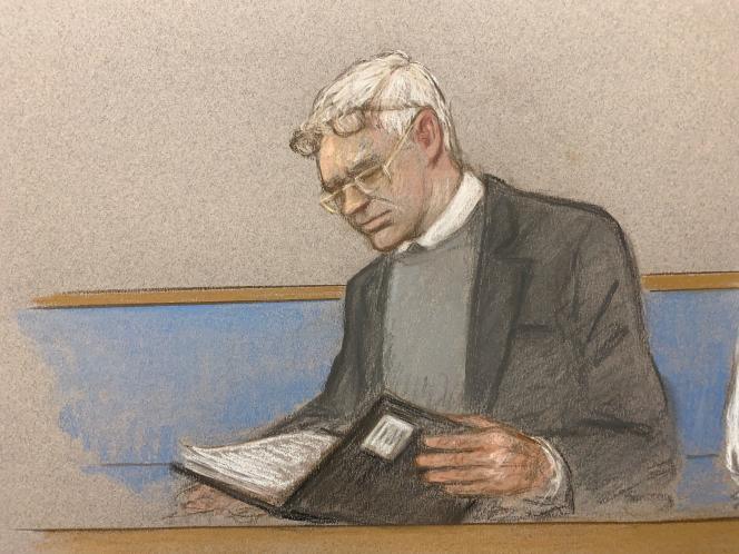Croquis représentant Julian Assange lors de l'ouverture du procès devant décider son extradition aux Etats-Unis, lundi 24 février à Londres.
