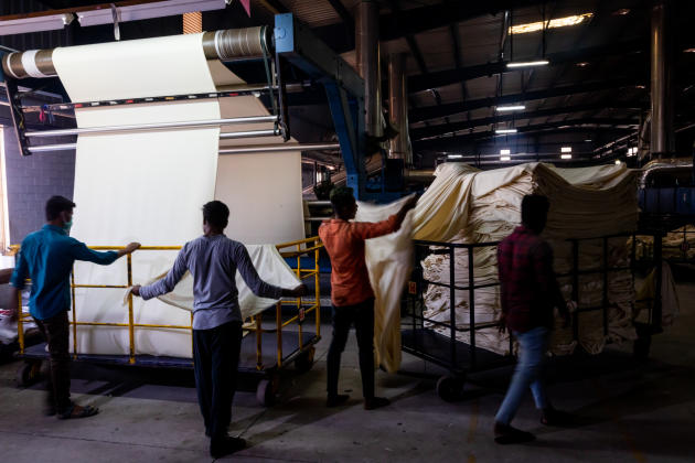 A l'usine textile de GMS Processors Private Limited, à Tiruppur (Tamil Nadu), en Inde.