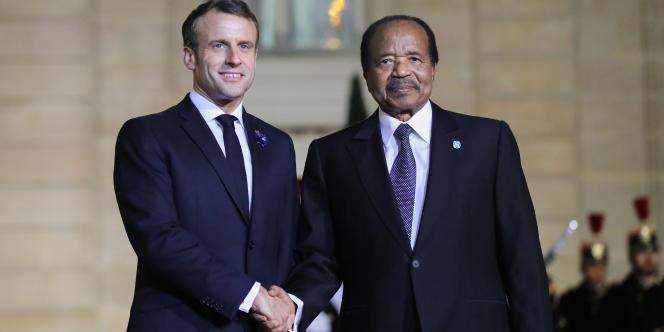 Emmanuel Macron et Paul Biya le 11 novembre 2019 à Paris.