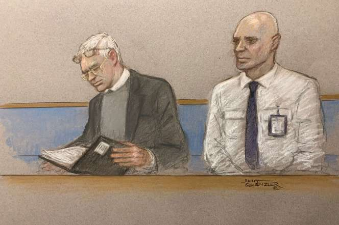 Croquis de Julian Assange lors de l'ouverture de son procès en extradition à Londres, le 24 février.