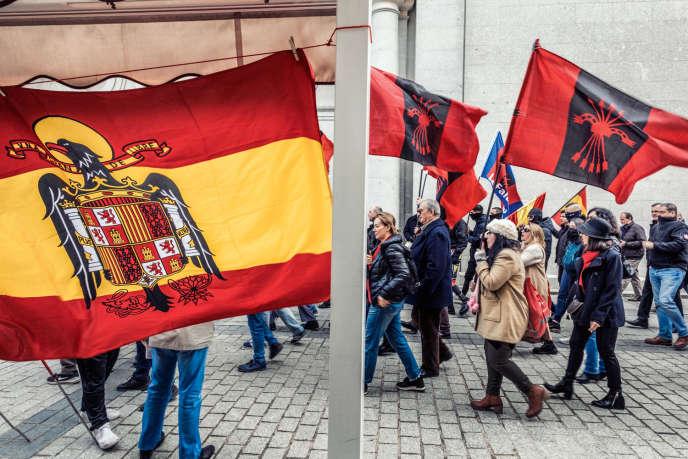 Une manifestation pro-Franco à l'occasion du 44eanniversaire de la mort du dictateur, le 24novembre 2019, à Madrid.