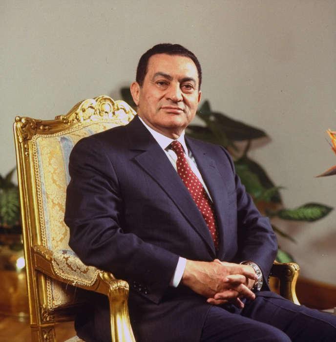 Le président égyptien Hosni Mubarak au palais présidentiel du Caire, le 29 mars 1993.