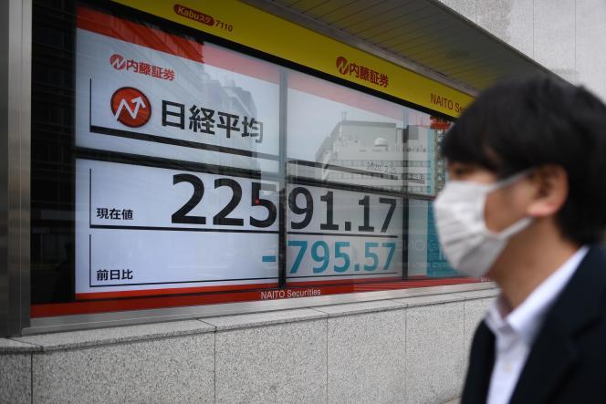 Un passant portant un masque marche près d'un panneau indiquant la forte baisse de l'indice Nikkei dès l'ouverture de la Bourse de Tokyo, mardi 25 février.