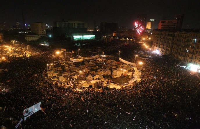 La place Tahrir le 11 février 2011, jour du départ d'Hosni Moubarak.