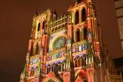 La cathédrale Notre-Dame d'Amiens mise en lumière à l'occasion deses 800 ans, le 21 novembre 2019.