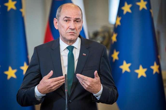 Janez Jansa, président du Parti démocratique slovène (SDS), le 26 février àLjubljana.