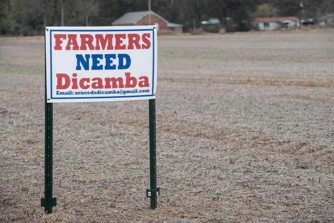 « Les agriculteurs ont besoin de [l'herbicide] Dicamba», affirme une pancarte dans un champ de Gregory, dans l'Arkansas (sud des Etats-Unis), en novembre 2017.