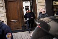 Le délégué général de LRM, Stanislas Guerini, à la sortie d'une réunion de crise au siège du parti à Paris, le 15 février.