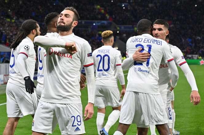 La joie des Lyonnais et de Lucas Tousart, buteur, qui ont battu la Juve.