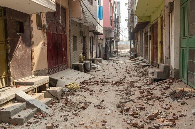 Le quartier désert de Chand Bagh, à New Delhi, le 26 février.