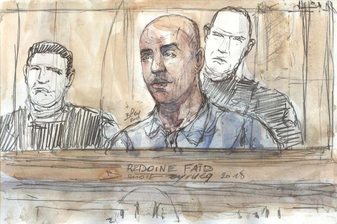 Dessin montrant Rédoine Faïd lors de son procès à la cour d'assises de Paris, en février2018, pour le braquage avorté, la fuite sur l'autoroute et la mort de la policière municipale Aurélie Fouquet à Villiers-sur-Marne (Val-de-Marne) en mai2010.