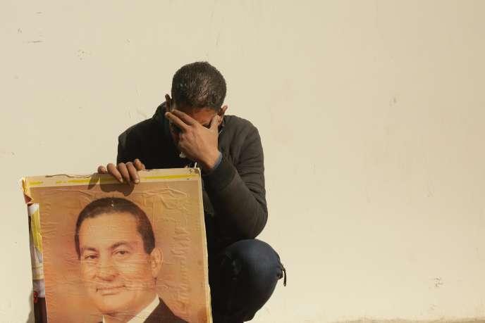 Lors des funérailles d'Hosni Moubarak, au Caire, le 26 février 2020.