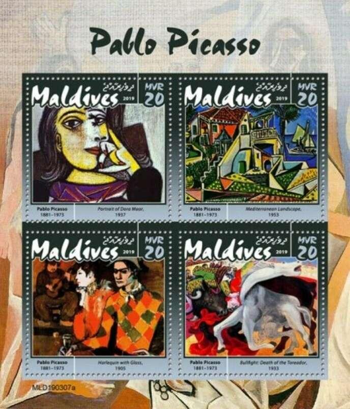 Timbres des Maldives (2019) sur Picasso, avec une reproduction d'un portrait de Dora Maar.