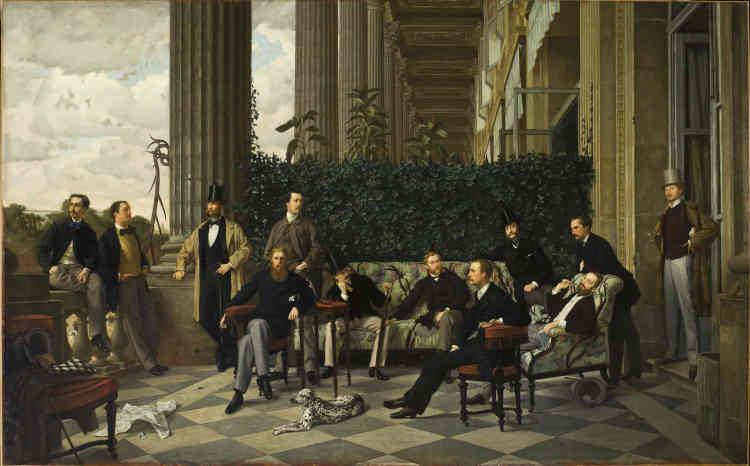«En 1866, James Tissot reçoit une commande très prestigieuse, celle du portrait collectif de douze des membres du Cercle de la rue Royale. L'artiste les représente en pied, posant sur leur terrasse de l'hôtel de Coislin, surplombant la place de la Concorde. Il se plaît à flatter cette société choisie, où se mêlent les fils du faubourg Saint-Germain et les nouveaux noms de l'industrie et de la banque. Du haut de leur Olympe, cette jeunesse dorée, sûre de son rang et fière de sa réussite, domine littéralement la ville et attire tous les regards. James Tissot dessine très précisément les physionomies et les costumes, tout en donnant à ses modèles des poses variées et décontractées qui rappellent la gravure de mode et le portrait photographique », souligne Paul Perrin.