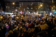 Manifestation de militantes féministes devant la salle Pleyel où va se dérouler la cérémonie des Césars, à Paris, le 28 février.