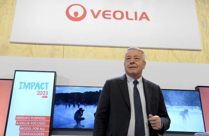 Antoine Frérot, PDG de Veolia, présente les résultats du groupe, à Aubervilliers, vendredi 28 février, ainsi que le plan stratégique« Impact 2023».