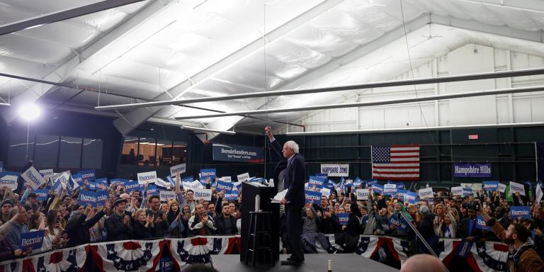 Democratic U.S. presidential candidate Senator Bernie Sanders is cheered after a speech at a campaign rally in Milford, New Hampshire, U.S., February 4, 2020. REUTERS/Mike Segar