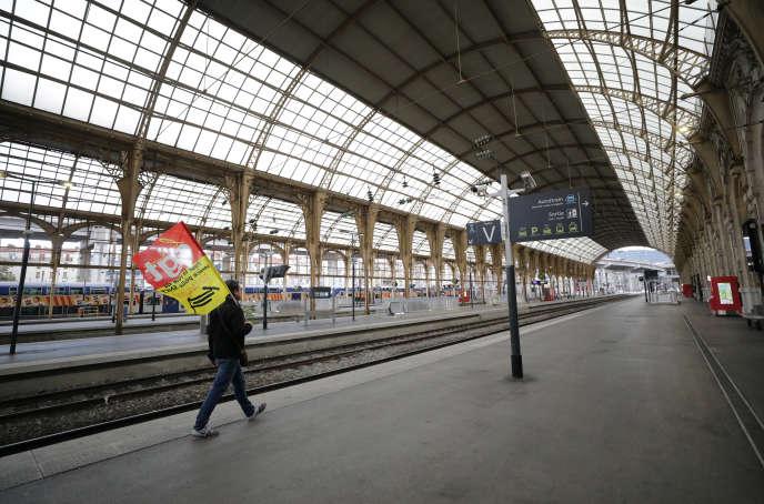 Gare de Nice, le 6 décembre 2019, en pleine grève des cheminots.