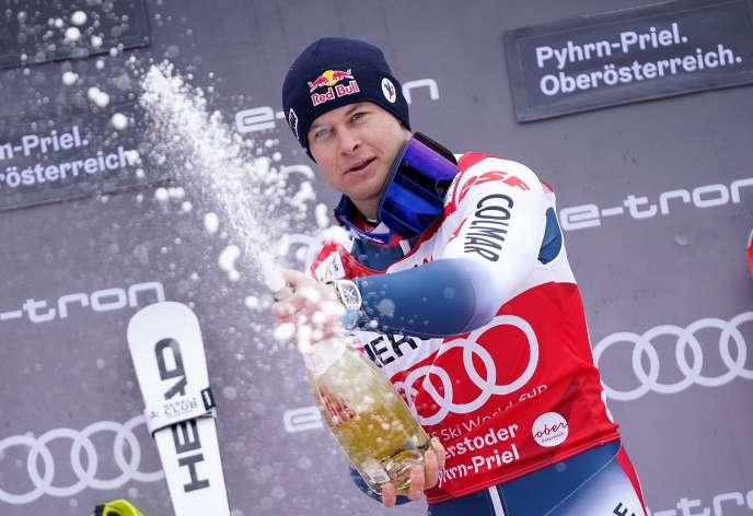 Alexis Pinturault sur le podium du combiné d'Hinterstoder.