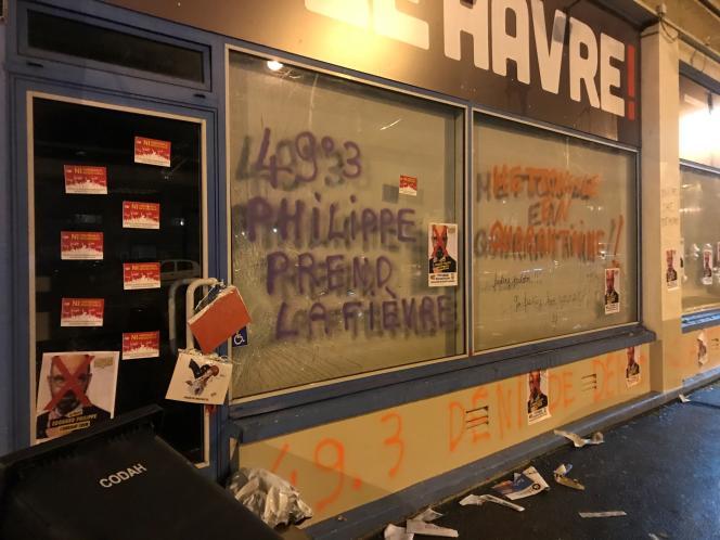 Le siège de campagne d'Edouard Philippe, au Havre, où il se représente à la mairie, après l'annonce du recours à l'article du 49.3, le 29 février.
