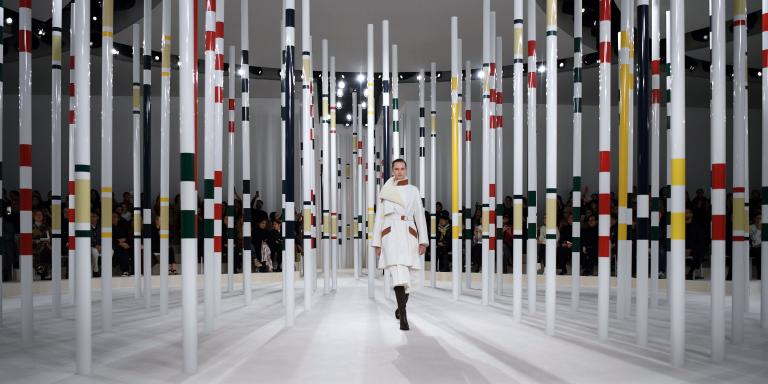 TOPSHOT - A model presents a creation for Hermes during the Women's Fall-Winter 2020-2021 Ready-to-Wear collection fashion show in Paris, on February 29, 2020.  / AFP / Anne-Christine POUJOULAT