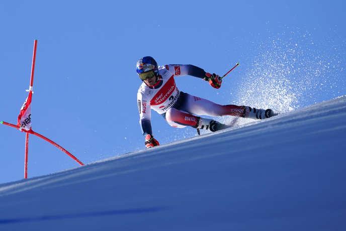Alexis Pinturault, lors de sa victoire dans le slalom géant d'Hinterstoder, en Autriche, lundi 2 mars.