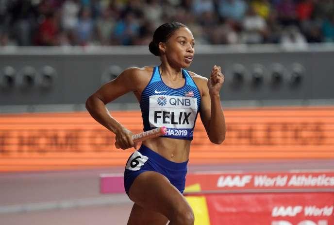 La championne d'athlétisme américaine Allyson Felix, ici au Qatar le 5 octobre 2019, a subi des pressions de son équipementier lors de sa grossesse.