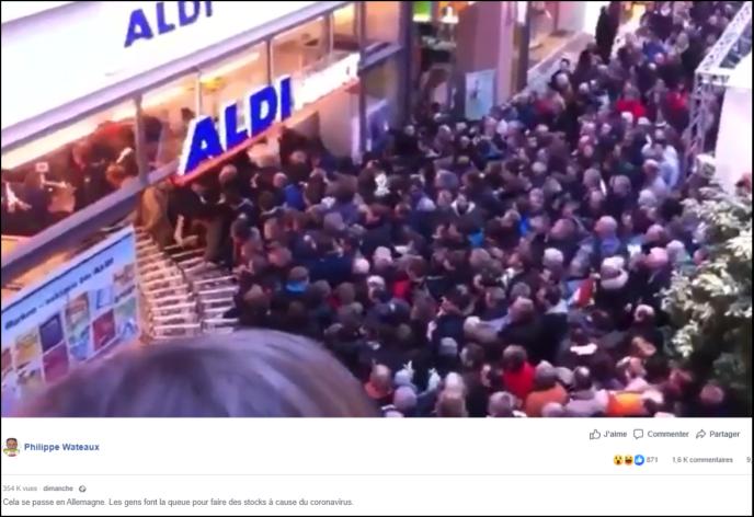 Capture d'écran du message d'un internaute prétendant que la vidéo est liée à l'épidémie due au coronavirus.