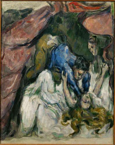 """«C'est ainsi qu'au contact des peintres vénitiens, Cézanne va produire dans sa jeunesse des toiles violentes, telle """"La Femme étranglée"""".»"""