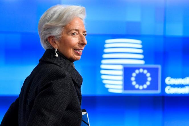 Christine Lagarde, la présidente de la Banque centrale européenne, le 17 février à Bruxelles.