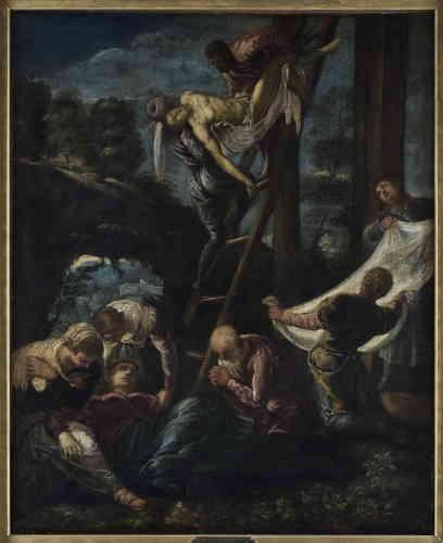 """«Ici, Cézanne va s'inspirer d'un détail de """"La Descente de croix"""",le groupe formé par le Christ et Nicodème. »"""
