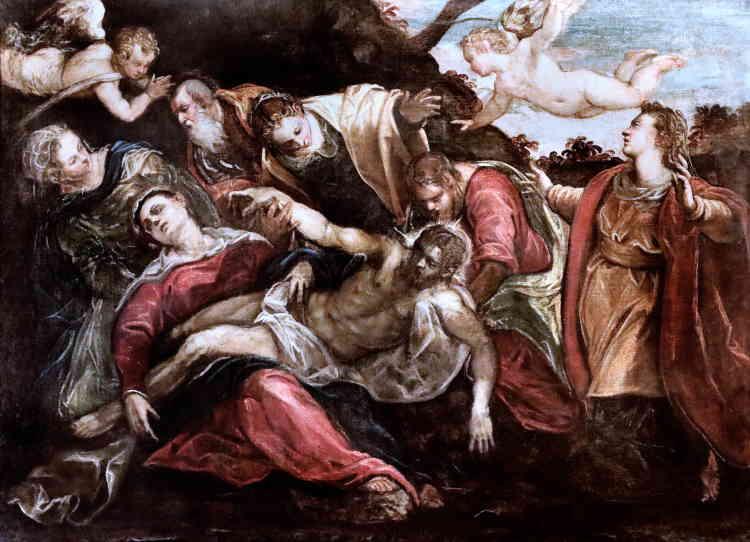 """«De l'exemple vénitien, Cézanne retient le tragique de scènes religieuses qu'il applique à l'illustration d'un fait divers dans """"Le Meurtre"""". Il reprend la dynamique des compositions du Tintoret et en garde le jeu des obliques.»"""