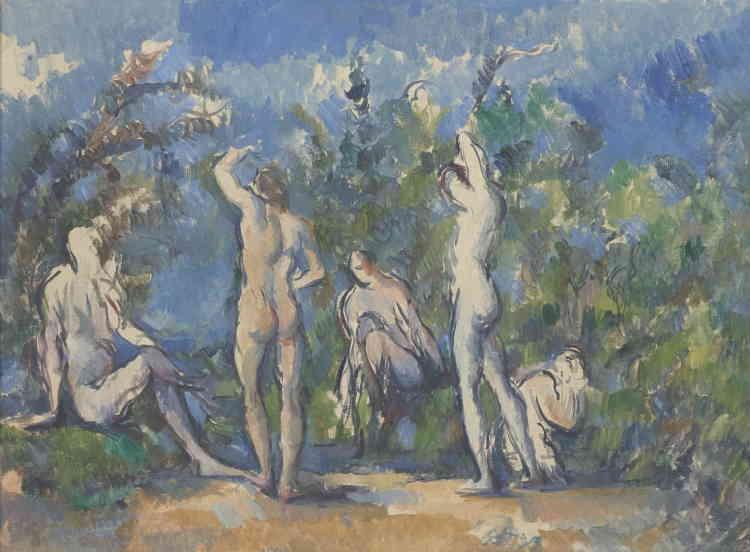 «En 1914, le peintre Giorgio Morandi découvre les baigneurs de Cézanne. Il consacre en hommage à l'Aixois une suite de peintures au même sujet, il s'intéresse à la fusion de la figure et du paysage, principe qu'il pousse à son paroxysme dans ses toiles.»